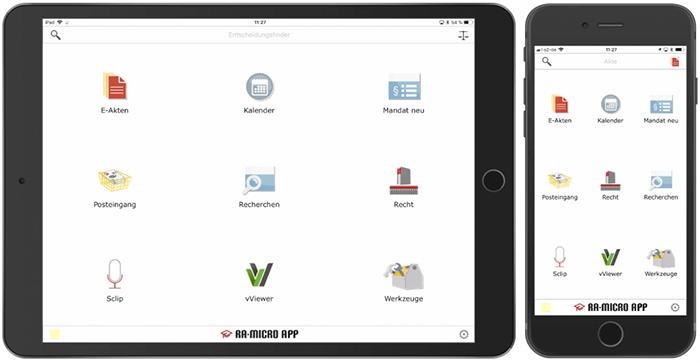 RA-MICRO App für Anwälte auf iPhone oder iPad
